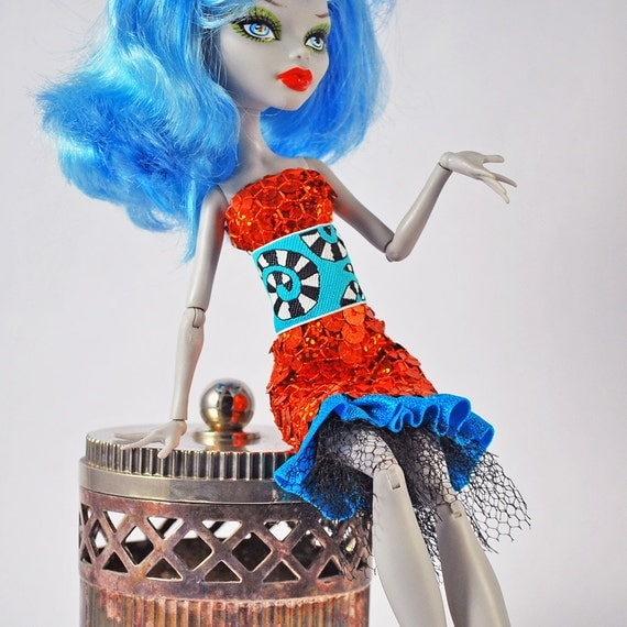 Monster High handmade fashions stretchy sparkly sequined bright orange dress with Beatle Juice inspired trim