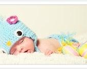 Crochet Blue Bird Hat and Diaper Cover Set.