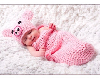 Crochet Piggy Hat and Cocoon Set