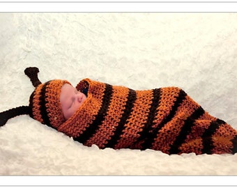 Crochet Bug Hat and Cocoon Set