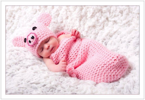 Crochet Piggy Hat and Cocoon Set