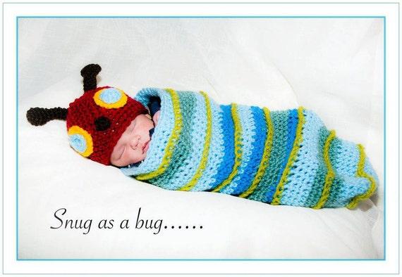 Crochet Caterpillar Hat and Cocoon Set
