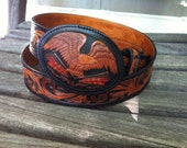 Western Leather Tooled  Belt - American Eagle and Flags