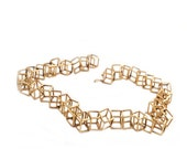 18K Yellow Gold Cube Necklace
