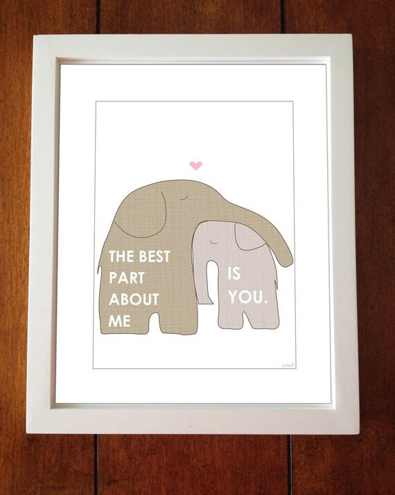 Children's Decor - The Best Part About Me Is You - Nursery Art, 8 x 10, Nursery Illustration, Elephant Decor, Kids Art,