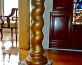 Stunning GILDED TURNED COLUMN Pedestal ending in a Square Base