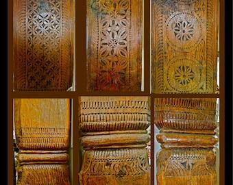 Massive Solid TEAK Hand Carved TEMPLE COLUMNS Pakistan Set of 10