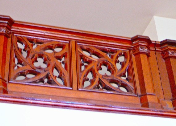 GOTHIC WALNUT Hand Carved BALCONY Railing Massive Stunning