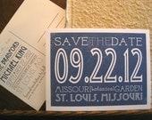 "Modern ""Deco,"" DIY, printable Save the Date postcard - Custom Word Block"