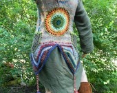 Rainbow Inspired crocheted MANDALA up-cycled wool sweater VEST w/ side pockets and 3 Driftwood buttons - multi colored rainbow with tassles