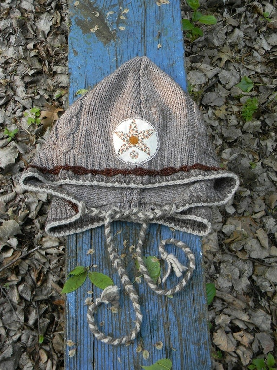 handsewn UPCYCLED hood w/ crocheted hemp/wool and BrOwN SEED beads border Flower PATCH - purpley gray, brown, offwhite, orange flower