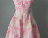 Vintage 70s Pink Funky Floral Mini Dress XS-S