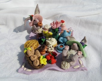 Hand Sculpted Polymer Clay Easter Bunny Picnic Decoration Lunch Pastries Pies