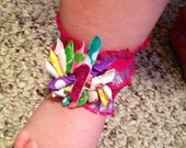 Barefoot Baby Sandals- Happy Birthday Sandals- Customized for Your Party Colors and Theme