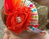 Shabby Chic Clip- Orange Shabby Chic Flower w. Rhinestone Center, Orange Red Feathers, Green Sparkley Tulle & Colorful Polka Dot Fabric Fan