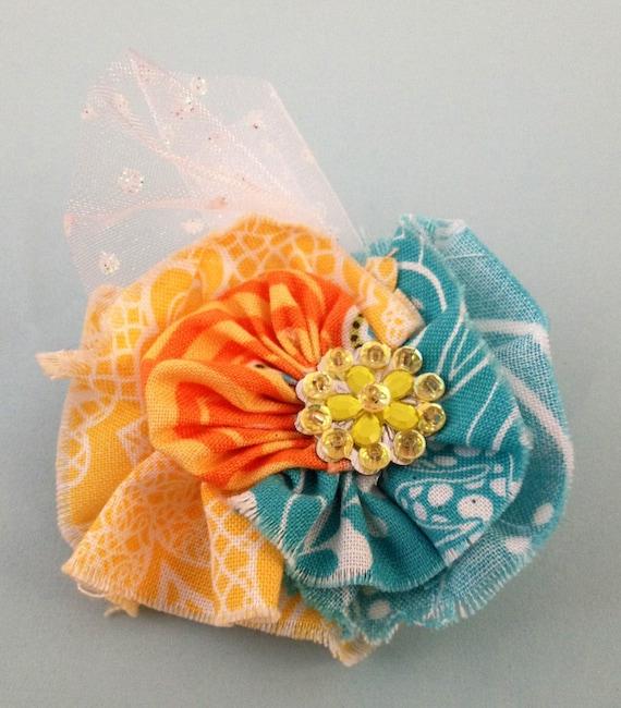 Vintage Inspired Light Blue, Yellow and Orange Frayed Fabric Clip w. White Sparkley Polka Dot Tulle Embellishment & Yellow Beaded Flower