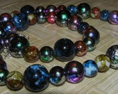 Necklace- Multicolored Marbled Glass Beads
