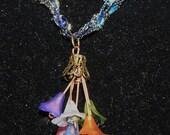 Lucite Flower Bouquet Pendant- Spring Colors with Antique Copper Findings