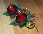 Red Crystal and Teal Lucite Earrings Resembling Berries with a Copper Ear Wire