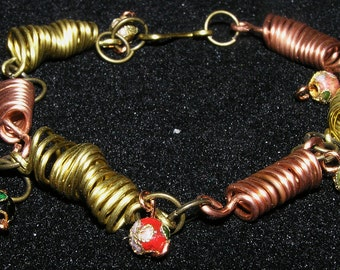 Bracelet and Earrings Set- Copper and Brass Wire Coils