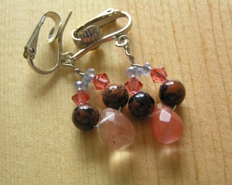 Clip On Earrings- Salmon Quartz Teardrop and Goldstone