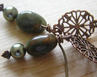 Copper Green Opal and Copper Filigree Brass Wire Earrings