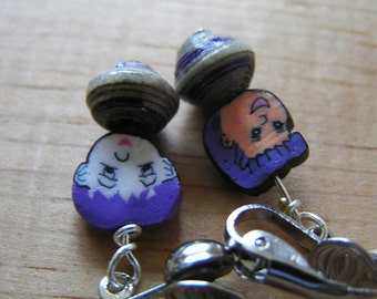 Asymmetrical Clip On Earrings African Paper & Polymer Clay Face Beads