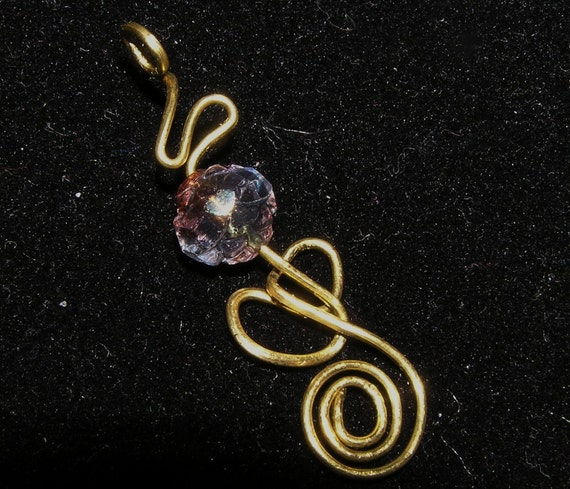Brass Wire Pendant with Doddle Wire  Design and Czech Glass Inspired by a Treble Clef