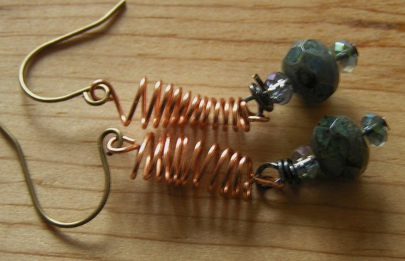 Copper Spring and Czech Glass Earrings