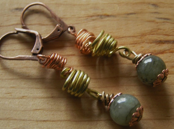 Earrings- Brass and Copper Springs with Labradorite