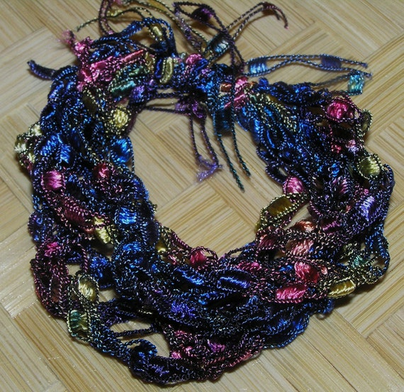 Crocheted  Bracelet- Blue and Pink Ladder Ribbon