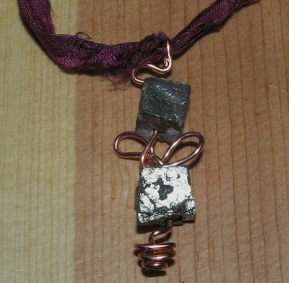 Pendant on Sari Silk Ribbon- Copper Wire and Pyrite