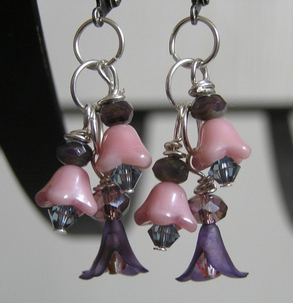 Dangle Earrings- Purple Lucite with Pale Pink Czech Glass Bellflowers