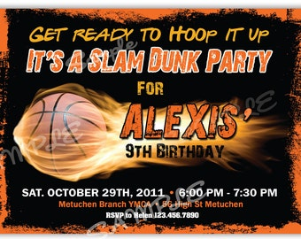Basketball Birthday Invitation Printable File DIY, Basketball Birthday Invitation DIY, Basket Invitacion, Basket ball Invitation, Slam Dunk