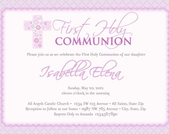 Girl's First Communion Invitations, Communion Invitations, First Holy Communion Invitations, Communion invitations for Girls - Girl Baptism