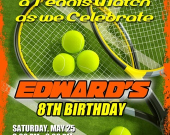 Tennis Birthday Invitation Printable File DIY, Tennis Birthday Invitation, Tennis Party Invitation, Invitation Tennis, Invitacion de Tenis