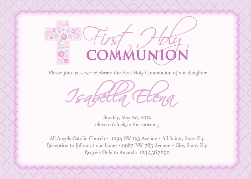 Girl S First Communion Invitations Communion Invitations