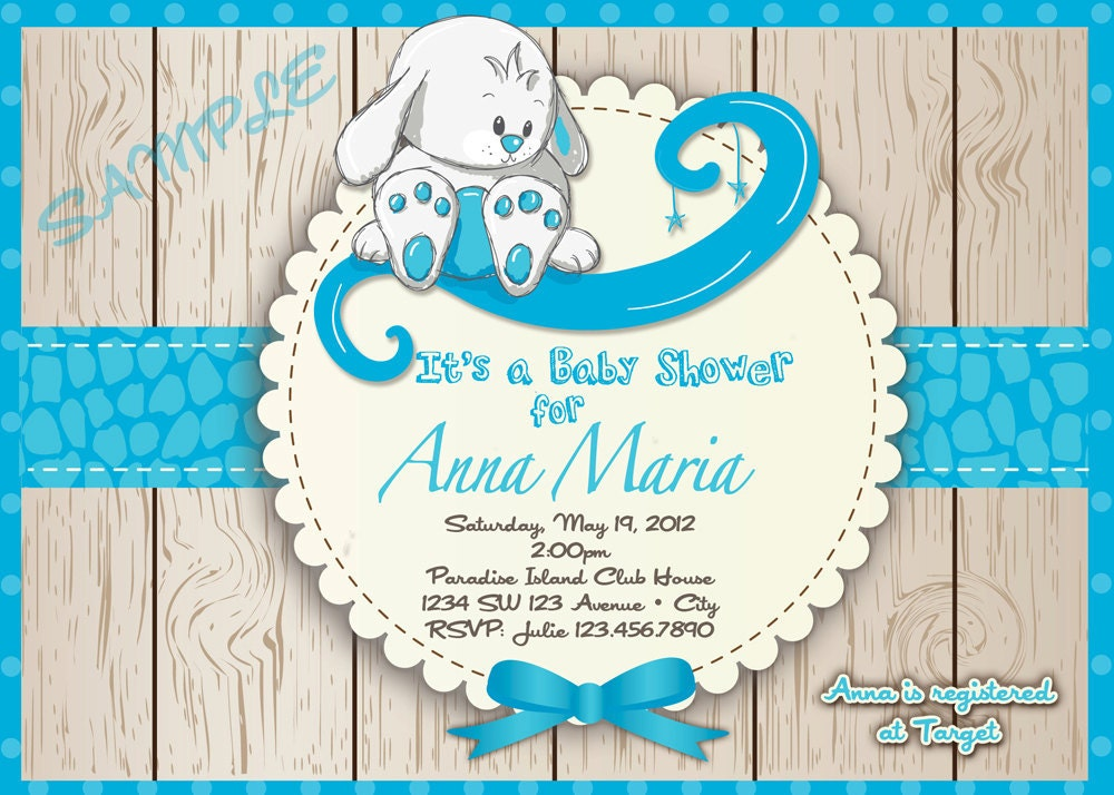Rabbit baby shower invitation boy s baby by artisacreations