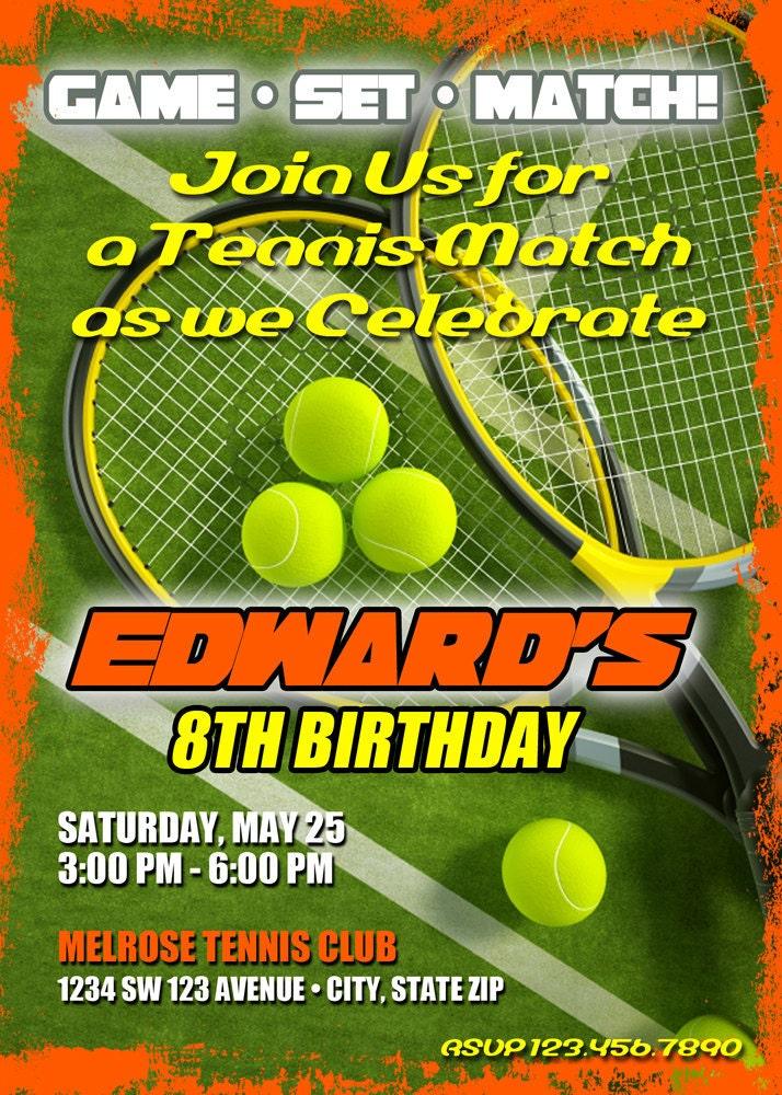 Tennis Birthday Invitation Printable File DIY Tennis Birthday