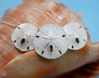 Sand Dollar Necklace, Sterling Silver | Sanddollar Necklace Statement Necklace Beach Jewelry Silver Necklace Unique Statment Pendant Wedding