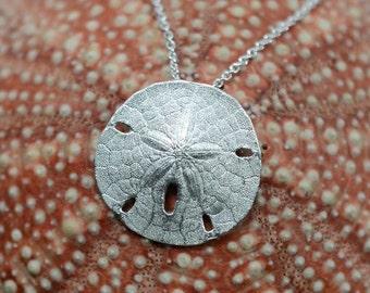 Sand Dollar Pendant, Sterling Silver | Silver Necklace Statment Pendant Sanddollar Necklace Beach Jewelry Handmade Beach Wedding Bride Gift