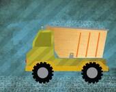 """Dump Truck Art Print, 8x10, Unframed (mix with """"construction site"""" print series)"""