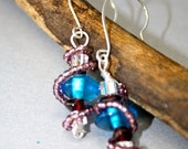Unique Aquamarine, Garnet, and Crystal Earrings- Wire Wrapped