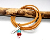 Believe Tan Suede Wrap Around Bracelet/ Necklace with Turquoise and Red Glass Charm