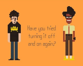 The IT Crowd Cross Stitch Chart Pattern with Roy and Moss