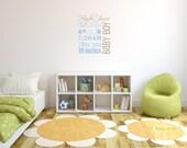 Children Baby Name Monogram Vinyl Wall Decal - Nursery Decals Letter Child Blue Brown