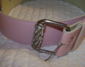 FINAL SALE Rhinestone belt buckle pink Size M belt, Dress up any piece of clothing with this belt.  Pastel pink