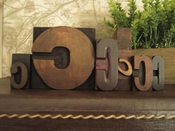 "Letterpress Monogram ""C"" / Wood Printers Blocks Collection"