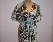 Maternity Nursing Kaftan-Blue Oasis- Short Gown