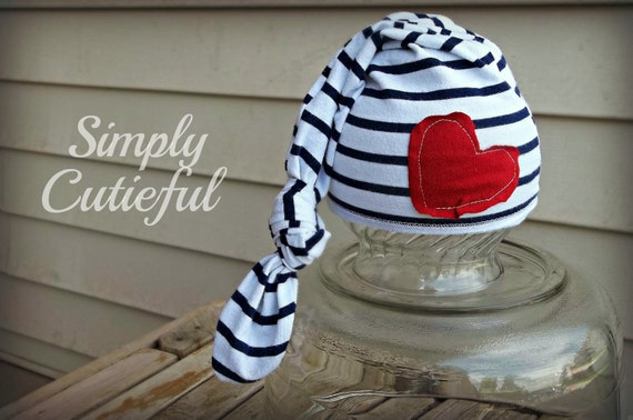 Patriotic Newborn Upcycled Hat,Baby hat /  Upcycled photo prop / Newborn photo prop / Upcycled Baby hat / Ready to Ship